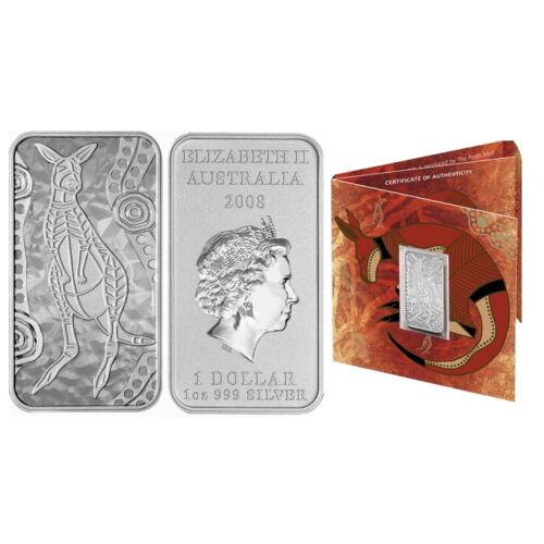 Australia 2008 Kangaroo Dreaming $1 Pure Silver Dollar Rectangular Ingot Bar OGP