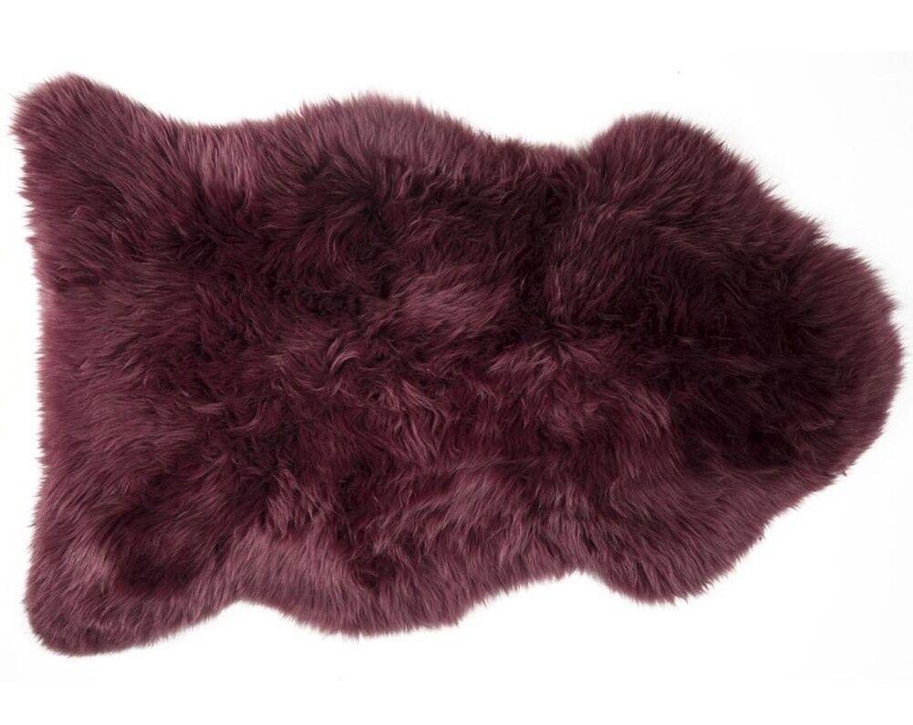 100% Genuine Sheepskin Rug - - - Aubergine Produced in Devon 1ac6d7