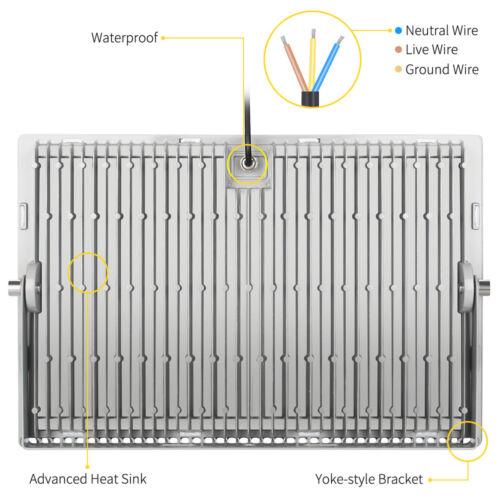 1x 500W LED Flood Light Cool White Outdoor Spotlight Garden Yard Lamp New IP67