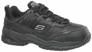 Skechers-Men-039-s-77013-Work-Relaxed-Fit-Black-Composite-Toe-Safety-Work-Shoes