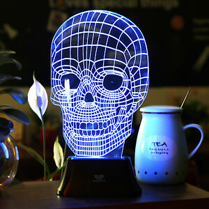 Image Is Loading LED 3D Illuminated Skull Illusion Light Desk Micro