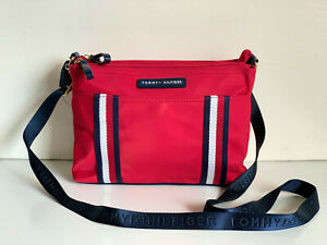 NEW-TOMMY-HILFIGER-RED-DOUBLE-ZIP-MESSENGER-CROSSBODY-SLING-BAG-PURSE-75-SALE