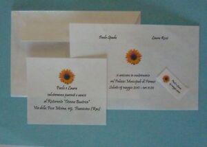 Partecipazioni Matrimonio Con Girasoli : Set partecipazioni invito matrimonio nozze girasole sun ebay