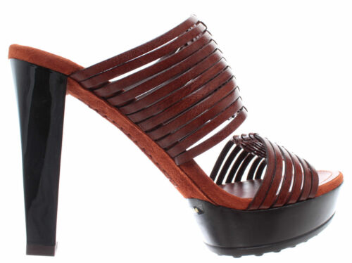 Intrecciati Plateau Mignon Femmes Sandales Tod's Marron Cuir Talons Chaussures RnHY7Pn
