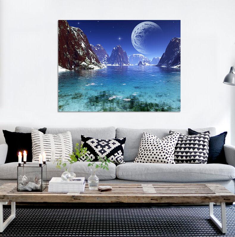 Azzurra Ceramica Full 54.3d Berg Mond Stern Meer 896 Wandbild Bildtapete Ajstore De Lemon