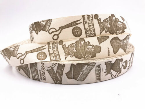 5-10yards Printed Cotton Ribbon 25mm Handmade Gift Present Package DIY Sewing