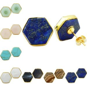 Hexagon-Gemstone-Crystal-Glass-Shell-Stone-Gold-Plated-Ear-Stud-Earrings-Jewelry