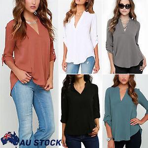 Womens-V-neck-Tops-Loose-Long-Sleeve-T-Shirt-Casual-Blouse-Chiffon-Summer-Shirt