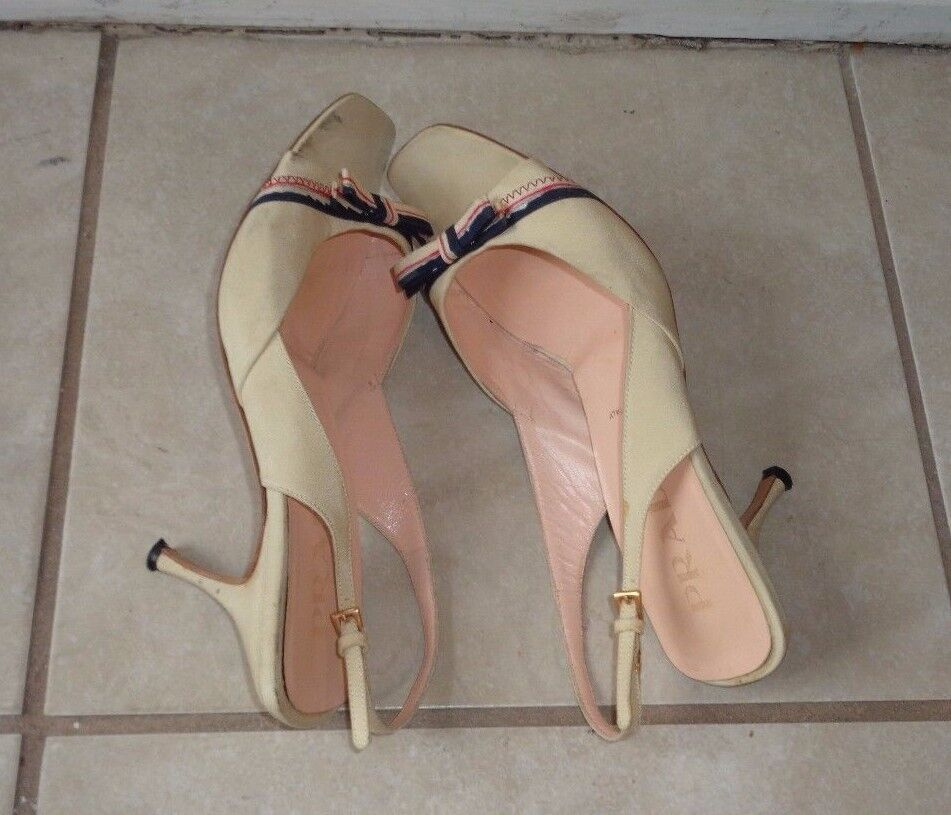 PRADA CREAM CREAM CREAM COLOR BEIGE FABRIC MULTI COLOR BOW DETAIL PUMPS Sz 37M MADE IN ITALY 85f44b