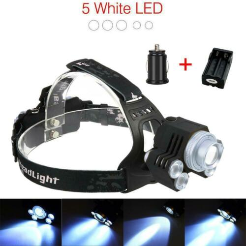 T6 5X LED Headlamp 100000LM Rechargeable Flashlight X 2X18650+Charger BT