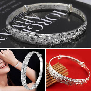 Women-Girls-925-Sterling-Silver-Carving-Cuff-Bracelet-Bangle-Charm-Jewelry-Gift
