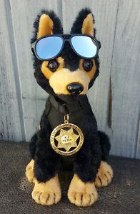 Black-Tan-German-Shepherd-Plush-Police-Dog-w-K9-Badge-Mirrored-Aviators-charity