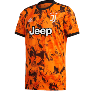 adidas Juventus FC 2020- 2021 Third Soccer Jersey Bahia Orange - Black Brand New