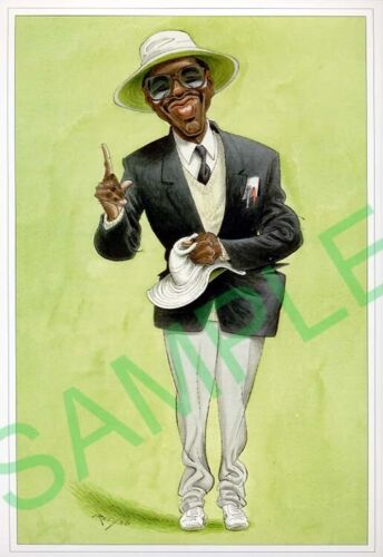 Framed caricature of Steve Bucknor by John Ireland