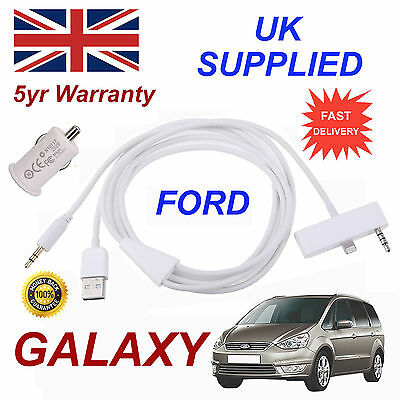 For FORD GALAXY iPhone 6 Plus 6s Plus USB & Aux Audio Cable 1A USB Power Adapter