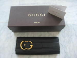 cb15eb2c1e1d NEW AUTHENTIC GUCCI BLACK LEATHER CLUTCH BAG (extra large size) FREE ...