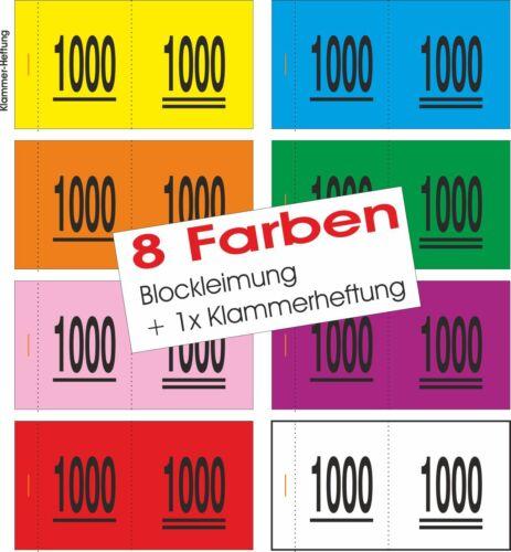6 Farben Doppelnummern Nr.0001 bis 5000 wählbar