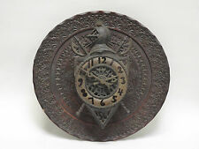 ELABORATE ANTIQUE CARVED WOOD BACK w/ MEDIEVAL COAT OF ARMS IRON DIAL
