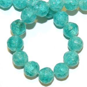 10 10 mm Czech Glass Round Crackle Beads Blue//Light Green