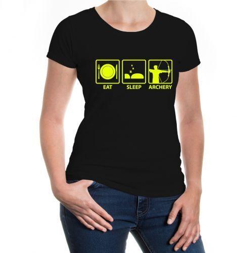 Femmes Manches Courtes Fille Shirt volonté SLEEP ARCHERY ARC Tirer Fun Proverbes Cadeau