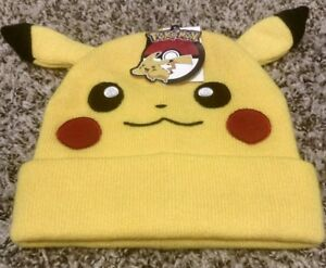 33ca5031a23 NEW BIOWORLD POKEMON PIKACHU BIG FACE FLEECE CAP HAT BEANIE WITH ...