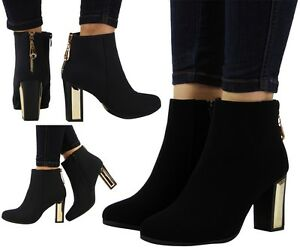 NEW-WOMENS-LADIES-GOLD-ZIP-BLOCK-CHUNKY-MID-HEEL-HIGH-ANKLE-BOOTS-SHOES-SIZE