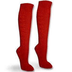 Trachtenstruempfe-Kniebundstruempfe-Tracht-Trachten-Socken-Zopfmuster-rot