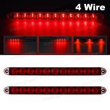"2PCS Red 15"" 11 LED Surface Mount Sealed Stop Tail Turn Brake 4 Wires Light bars"