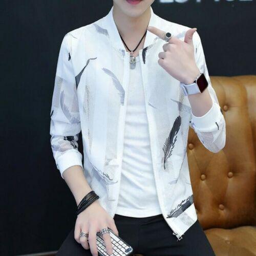 Summer Men Coats Slim Fit Printing Long Sleeve Sun-proof Korean Casual Jacket Sz