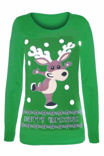 Womens Ladies Christmas Reindeer Pudding Snowflakes Xmas Long Sleeve T Shirt Top
