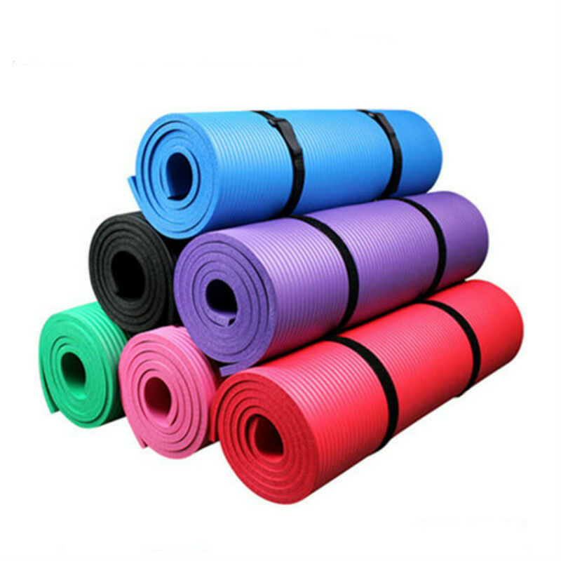Non Slip Yoga Mat Fitness High Density Toning Pilates Gym Outdoor Pad Solid New