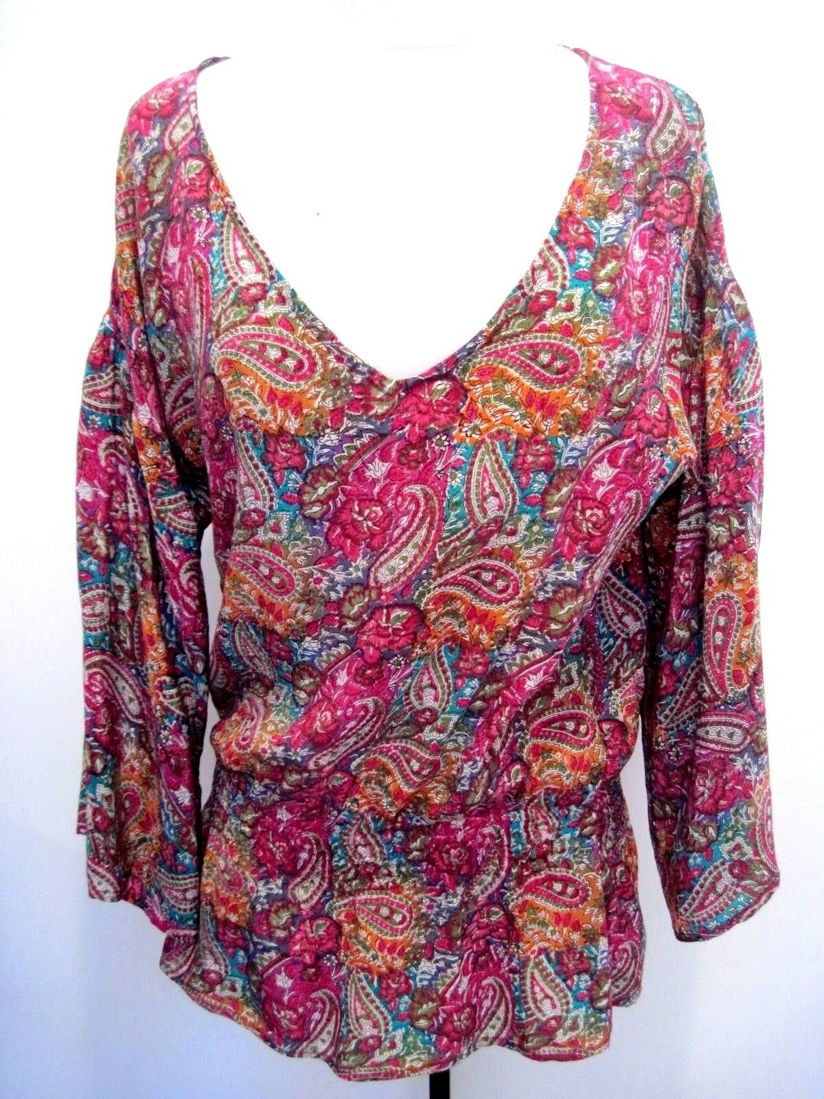 Tolani 100% Silk Paisley MulticolGoldt Tunic, Blouse Dress Größe M