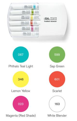 Winsor /& Newton Artistas Gráficos pigmento Marcador Pluma conjuntos Twin Tip tonos permanente