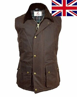 British UK Mens Premium 100% Wax Cotton Waistcoat Bodywarmer Smart Countrywear