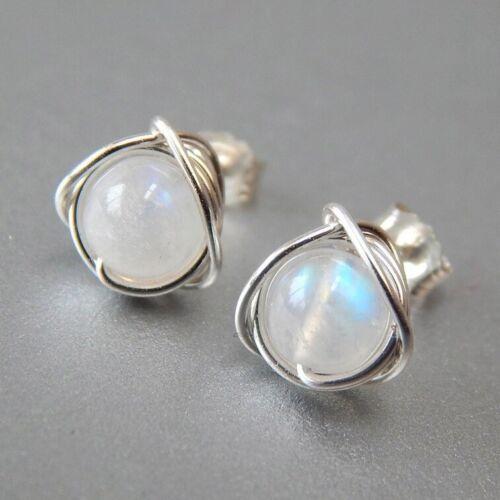 Belle Argent 925 Arc-en-Round Moonstone Clous D/'Oreilles Mariage Bijoux Cadeaux