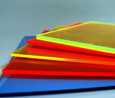 Acrylglas Plexiglas® Fluoreszierend 3mm Stärke in blau, rot, grün, orange