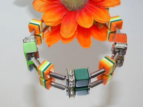 Pulsera cubo Cube hematites pedrería verde oscuro naranja brillante plata 493a