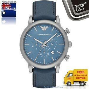 New-Emporio-Armani-Mens-Luigi-Watch-Silver-Tone-Blue-Leather-Strap-Chrono-AR1969
