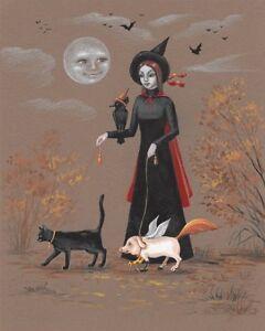 8x10 PRINT OF PAINTING HALLOWEEN BLACK CAT RYTA PORTRAIT WITCH VINTAGE STYLE ART