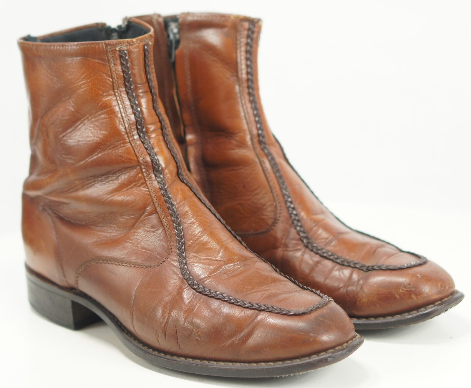 Men's Vintage US Union Made Half Ankle Chelsea Dealer Boots Braided Trim 9 EW