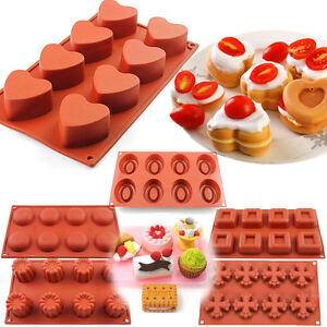 8-Cavity Silicone Cake Chocolate Soap Mould Tool Candy Cookies Baking Mold Tray