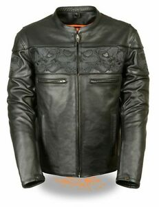 MEN-039-S-MOTORCYCLE-REFLECTIVE-BLK-SKULL-LEATHER-SCOOTER-JACKET-W-2-GUN-POCKETS-NEW