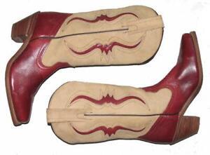 """WOW!!! """" FRYE """" Damen- Western- Stiefel / Boots in beige- rot Gr. 8,5B ca. 38,5"""