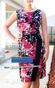 BNWT-RRP-189-JANE-LAMERTON-Petites-CURRENT-Floral-Dress-Size-14-Black