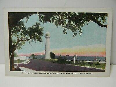 Vintage 1942 Biloxi Lighthouse On West Beach Biloxi Mississippi Postcard P22 Ebay
