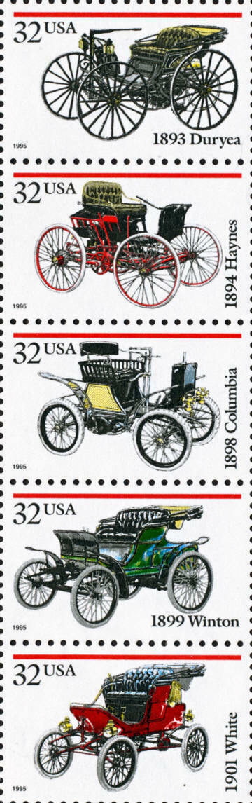 1995 32c Antique Automobiles, Strip of 5 Scott 3019-302