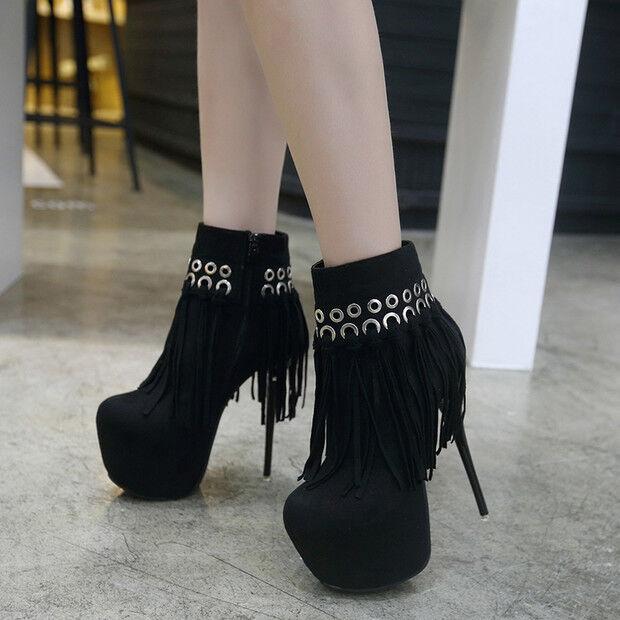 Stivali stivaletti bassi  stiletto 14 cm caviglia black comodi simil pelle 9589