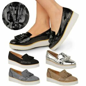 WOMENS LADIES LOAFERS FLAT SHOES CHUNKY CLEATED SOLE OFFICE SMART ...