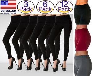 a6c5ee3b1e377c 3- 6- 12 PACK Women Seamless Fleece Lined Leggings Thick Winter Warm ...