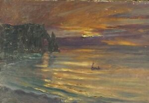 HUILE-SUR-TOILE-PAR-GUILLOT-RAFAILLAC-PAYSAGE-MARITIME-ROCHER-1930-G2181